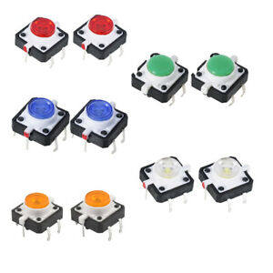 10pcs Led Tactile Push Button Switch Momentary Tact 5 Colors With Led Round Cap