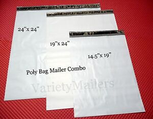 36 Poly Bag Mailer Variety Pack 24x24 19x24 14 5x19 Large Shipping Bags