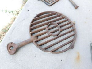Antique 1888 Cast Iron Fireplace Cook Stove Coal Ember Turn Turning Ash Grate
