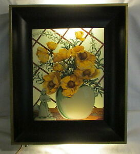 Mid Century Modern Wall Decoration Electric Frame Floral Light Box Nice