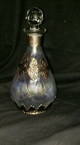 Antique Crystal Etched And Overlay With Silver Decanter Bottle Casedrepousse