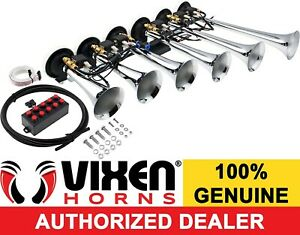 Loud 6 Trumpet 10tune Musical Air Horn W wired Remote 12v Chrome Plated Vxh6810c