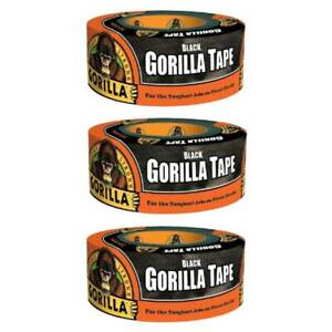 Gorilla Tape Black Duct Tape Heavy Duty Weather Resistant 1 88in X 12yd 3 pack
