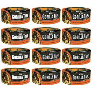 Gorilla Tape Black Duct Tape Heavy Duty Weather Resistant 1 88in X 12yd 12 pack