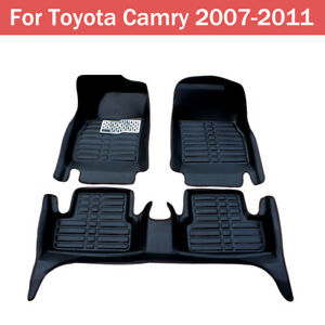 For 07 11 Toyota Camry Car Floor Mats Front Rear Liner Leather Waterproof Mat