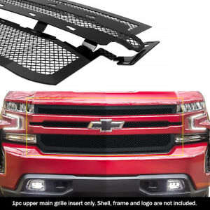 Fits 2019 2020 Chevy Silverado 1500 Upper Stainless Black Mesh Grille Insert