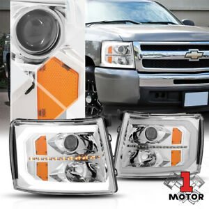 Chrome Amber Projector Headlight Led Drl Sequential Signal For 07 14 Silverado