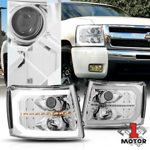 Chrome Clear Projector Headlight Led Drl Sequential Signal For 07 14 Silverado