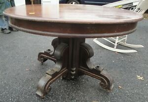 Antique Victorian 1870 Solid Walnut Renaissance Revival Huge Dining Table 110