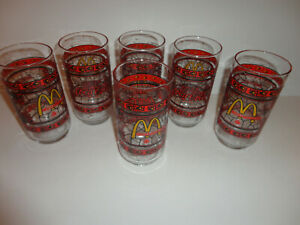 COCA COLA McDonald's Canada Glasses Vintage 1970's Stained Glass ~ Set of 6