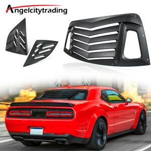 Rear And Side Window Louvers Fits For 08 19 Dodge Challenger Unpainted Black Abs