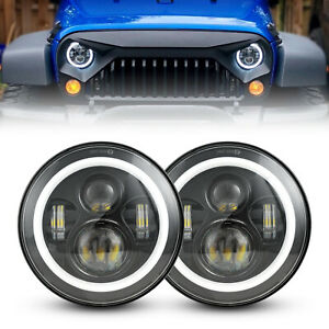 Dot Approved 7 Led Halo Ring Angel Eyes Headlights For Jeep Wrangler Jk 97 18