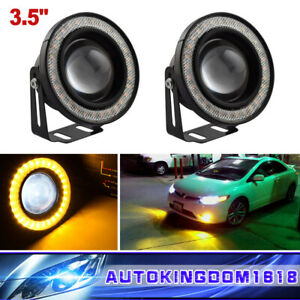 3 5 Yellow High Power Led Fog Lights Projector With Cob Halo Angel Eye Rings Us