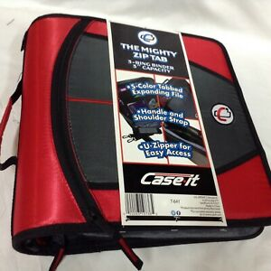 Case it Mighty Zip Tab 3 ring 3 inch Zipper Binder Expanding File Red grey T 641