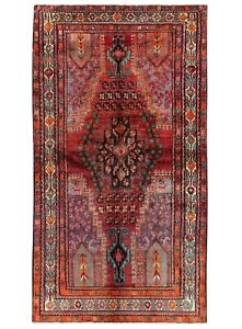 Hand Knotted Afsharr Oriental Rug Tribal Wool Red Ivory Carpet 4 10 X 8 5