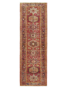 Hand Knotted Karajeh Runner Tribal Wool Red Navy Oriental Rug 3 9 X 15 1