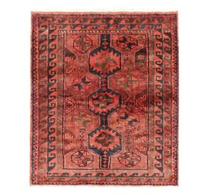 Hand Knotted Luri Tribal Rug Wool Rust Navy Oriental Carpet 5 7 X 6