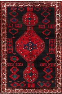 Hand Knotted Luri Rug Tribal Wool Navy Blue Red Oriental Carpet 7 2 X 9 8