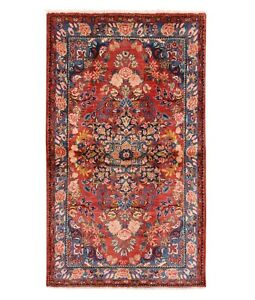 Hand Knotted Oriental Rug Hamedan Tribal Wool Red Blue Carpet 4 2 X 6 3