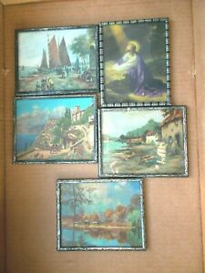 Vintage 5 Colorful Picture Set Of 4 X 5 Good Condition Metal Frames