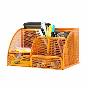 Pro Space Desktop Mesh Storage Organizer Pen Holder Tray With Drawer Orange