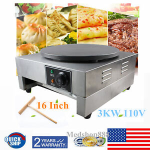 New 16 Commercial Electric Crepe Maker Pancake Machine Single Hotplate 3000w Us