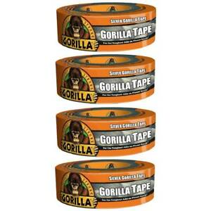 Silver Gorilla Tape Double Thick Adhesive Tough Hand Tear 1 88 In X 35yd 4 pack