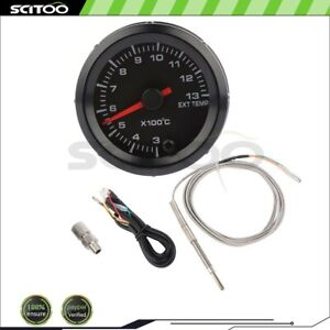 2 52mm Car Exhaust Gas Temp Gauge Led Pointer Egt Temperature Meter Sensor