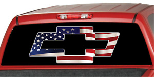 American Chevrolet Chevy Bowtie Us Flag Truck Window Vinyl Sticker Decal Suv