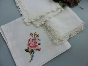 3 Vintage Handkerchiefs French Lace Irish Linen Embroidery Wedding Bride