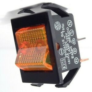 Eaton 2600 Lighted Rocker Switch Amber 4 pin On off 16a 120v