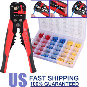 Crimping Tool Set Crimper Stripper Plier W 500 insulated Connector Terminal Kit