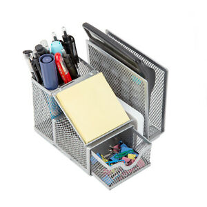 Pro Space Silver Multifunction Mesh Desk Organizer Pencil Holder Document Tray