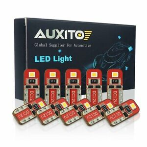 10x Auxito T10 Led License Plate Light Bulbs Can Bus Xenon White 168 2825 194 A