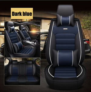 Car Seat Cover Protector cushion Front Rear Full Set Pu Leather Interior