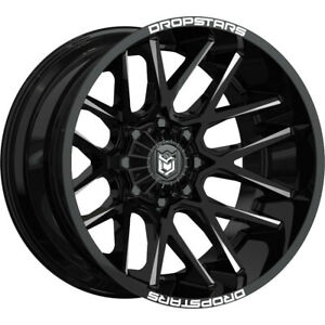 22x10 Dropstars 654bm Deep Concave Black Wheels Rims 25 6x135 6x5 50 Qty 4