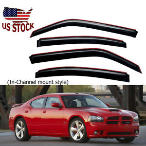In channel Smoke Tinted Window Vent Visor Rain Guard For 2006 2010 Dodge Charger