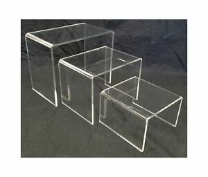 Acrylic Shoe Merchandise Display Riser Use In Retail Environment Set Of 3
