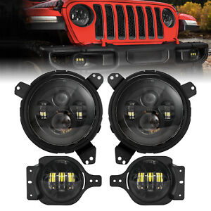 7 Round Led Headlights 4 Fog Lights Mounting Ring For Jeep Wrangler Jl 2018