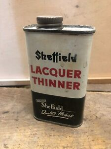 Vintage Sheffield Lacquer Thinner 1 Quart Can Empty Garage Man Cave Decor
