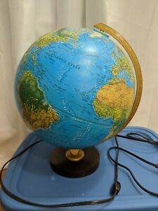 Vtg Replogle 12 World Horizon Series Lighted Globe Lamp Illuminated Light Up