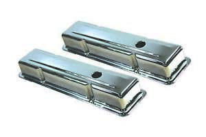 Specialty Chrome 8196 Steel Stock Height Valve Covers Small Block Chevy