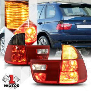 Chrome Housing Red Smoked Lens Euro Tail Light Brake Lamp For 00 06 Bmw E53 X5