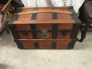 Antique Steamer Trunk Victorian Dome Camel Top Travel Bridal Chest C 1880