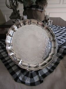 Vintage International Silver Co Silverplate Ball Claw Footed Fluted Tray 12