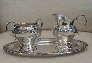 Gorham Sterling Silver 3 Pc Rose Scroll Creamer Open Sugar Tray Set