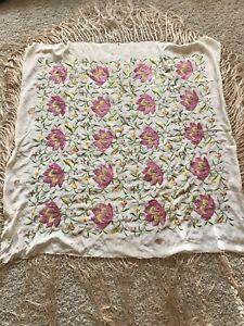 Antique Vtg Ivory Silk Pink Green Embroidered Floral Piano Shawl Fringe As Is