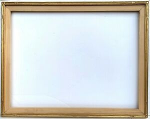 Arts Crafts Style 35 X 27 Carved Gilt Picture Frame With Fitted Stretcher