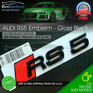 Audi Rs5 Gloss Black Emblem 3d Badge Rear Trunk Tailgate For Audi Rs5 S5 Logo A5