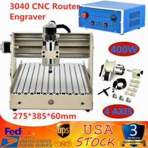 4axis 3040 Router Engraver Drilling Milling Machine 3d Cutter 400w Wood pvc pcb